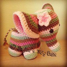 Peanut the elephant, crochet cutie