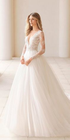 30 Stunning Long Sleeve Wedding Dresses For Brides ❤ long sleeve wedding dress. 30 Stunning Long Sleeve Wedding Dresses For Brides ❤ long sleeve wedding dresses a line v neckline lace sleeves with train rosa clara ❤ Full gallery: weddingdressesgui. Wedding Dress Sleeves, Long Wedding Dresses, Long Sleeve Wedding, Dresses With Sleeves, Lace Sleeves, Wedding Dresses Detachable Skirt, Long Sleeve White Gown, Tulle Skirt Wedding Dress, White Lace Gown