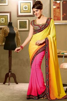 Yellow, Deep Pink Jacquard Designer Saree with Lace Border