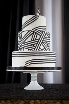 Beautiful Cake Pictures: Black & White Striped Ribbon Cake Photo - Birthday Cake, Cakes with Ribbons, Wedding Cakes -