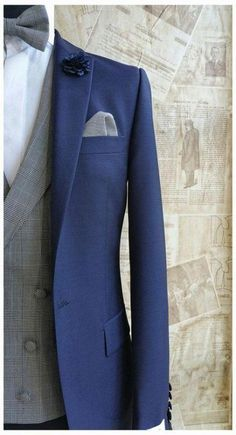 The Cobalt Blue Wedding suit Prince of Wales Check Waistcoat . Worn with matching bow tie & pocket square. Blue Suit Grey Waistcoat, Blue Suit Men, Navy Blue Suit, Navy Suits, Tweed Wedding Suits, Blue Suit Wedding, Wedding Men, Trendy Wedding, Wedding Groom