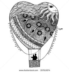 Heart-shaped zentangle hot air balloon with sun and stars pattern, vector design for Valentine's Day
