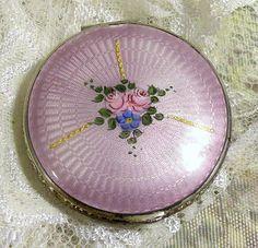Vintage Guilloche Powder Compact Lavender Silver Tone Ornate Border Roses