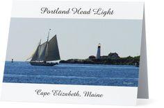 Portland Head Light with Sailboat in Casco Bay Note Card, New England, Portland…
