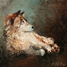 ANDRE DLUHOS lone wolf night wildlife canine ORIGINAL ART Texture Oil Painting -