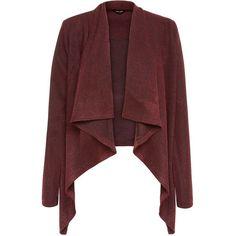 Burgundy Jersey Knit Waterfall Blazer (590 MXN) ❤ liked on Polyvore featuring outerwear, jackets, blazers, coats, burgundy, jersey blazer, waterfall blazer, long sleeve blazer, jersey knit jacket and red blazer