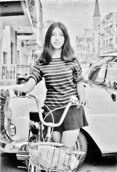 Beautiful young girl on the street, Saigon, 1972