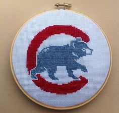 Chicago Cubs Cross Stitch Pattern Instant PDF by DuctTapeStitches Cute Cross Stitch, Cross Stitch Designs, Cross Stitch Patterns, Cross Stitch Embroidery, Cross Stitching, Snitches Get Stitches, Stitch Witchery, Yarn Colors, Chicago Cubs