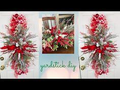 High End Easy & Inexpensive Door Swag Centerpiece Garland DIY Christmas Wreath using a Yardstick - YouTube Diy Christmas Garland, Diy Garland, Easy Christmas Crafts, Christmas Centerpieces, Diy Wreath, Stick Wreath, Christmas Baskets, Wreath Making, Christmas Parties
