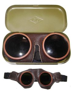 Soviet PILOT leather GOGGLES Metal box USSR by Sovietmilitaryitems, $25.00