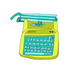 Olivetti Green 5x5 Quirky Illustration Print, Virginia Kraljevic, Etsy