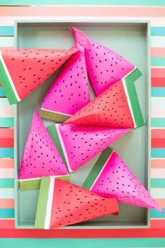 DIY Watermelon Favor Pouches.