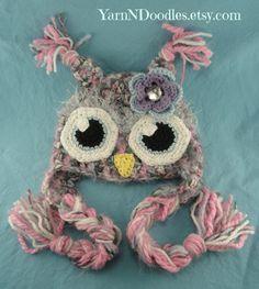 Baby Girl Crocheted Awake Eyes Fuzzy Owl Earflap Hat-Photo Prop-Shower Gift-Newborn-Costume-Holiday Christmas Gift Birthday Winter Hat. $36.99, via Etsy.
