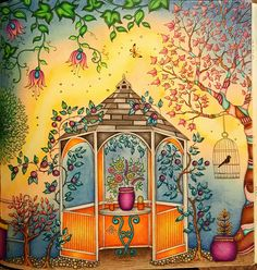 The Secret Garden Adult Coloring Book CLOSE UP of left side of gazebo two page…