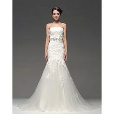 Trumpet/Mermaid Strapless Floor-length Wedding Dress – USD $ 349.99