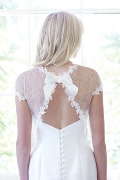 'Anya' Jacket Back, So Sassi. Stocked at Cotswold Bride. www.cotswoldbride.com #Flower #Applique #Lace #jacket