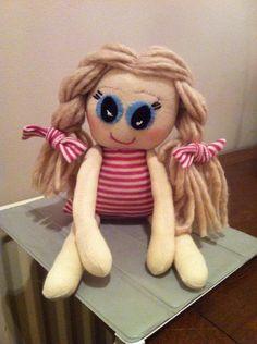 My very latest make a rag doll made from socks Sock Monkeys, Teddy Bear, Socks, Crafty, How To Make, Animals, Animaux, Hosiery, Animal