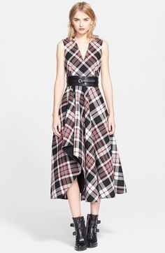 Alexander McQueen Plaid Fit & Flare Midi Dress available at #Nordstrom
