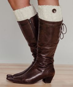 Ivory Cable-Knit & Button Wool-Blend Boot Cuffs by Stay Warm In Style #zulily #zulilyfinds
