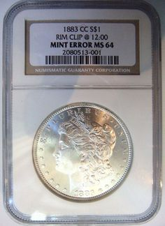1883 CC Silver Morgan Dollar NGC MS 64 Curved Rim Clip Mint Error Clipped Coin