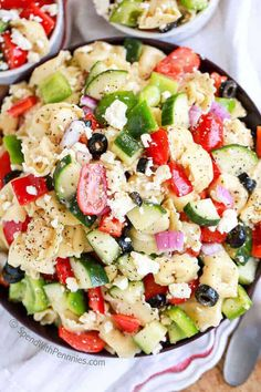 Greek Tortellini Salad is one of our all time favorites! Tender cheese filled tortellini, crunchy peppers, crisp cucumbers and juicy tomatoes, topped with loads of cheese and tossed in a greek flavored dressing! Potluck Recipes, Gourmet Recipes, Salad Recipes, Cooking Recipes, Healthy Recipes, Potluck Dishes, Yummy Recipes, Buffet Recipes, Potluck Ideas