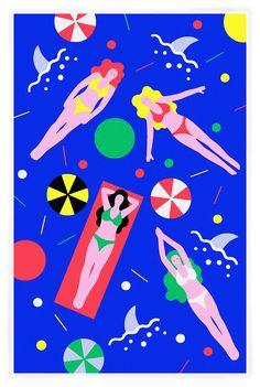"tan-n-loose:  Special edition, mid-winter Riso print from Hisashi Okawa  Shark Pool  6 Color Riso Print  11"" x 17""  Edition of 50"