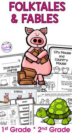 These Fairy Tales and Folktales resources include an interactive reading notebook and journal to help your students focus on sequencing, retelling and reading comprehension. The Interactive Notebook features help students understand sequencing and retelling- improving comprehension skills! #Fables #Folktales #secondgrade #ReadingComprehension #TeacherFeatures