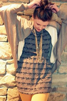 heather gray One Clothing dress - yellow Urban Outfitters tights - gold Forever