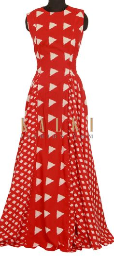 Red long dress with fancy print only on Kalki