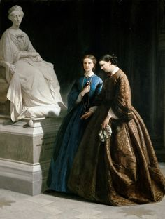 PRINCESS MARIA PIA AND PRINCESS CLOTHILDE OF SAVOY IN THE MAUSOLEUM OF HER MOTHER ADELAIDE OF HABSBURG