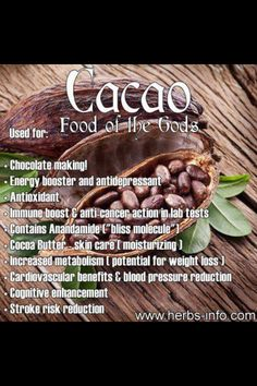 Cacao - NOT cocoa. Cacao is healthier for you. Uses and Benefits of Cacao Herbal Remedies, Natural Remedies, Health Tips, Health And Wellness, Nutrition Tips, Le Cacao, Coconut Health Benefits, Fruit Benefits, Natural Antibiotics