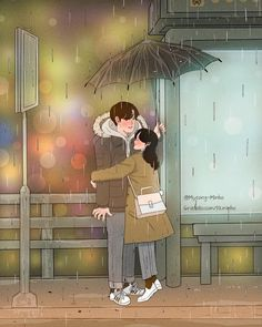 Heart-Warming Illustrations Depict The Romantic Moments Of A Happy Couple Cute Couple Drawings, Cute Couple Art, Cute Drawings, Paar Illustration, Couple Illustration, Love Cartoon Couple, Anime Love Couple, Anime Couples, Cute Couples
