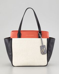 On the Go Raffia and Leather Colorblock Tote Bag by Diane von Furstenberg at Bergdorf Goodman.
