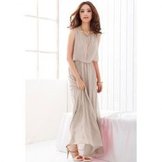 $13.66 Elegant Scoop Neck Sleeveless Solid Color Faux Twinset Long Skirt Chiffon Dress For Women