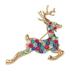 Fashion Jewelry Cheap Sale Fashion Multicolor Crystal Double Bells Christmas Bows Sleigh Bells Brooches Christmas Gifts Christmas Brooches For Women Pure And Mild Flavor