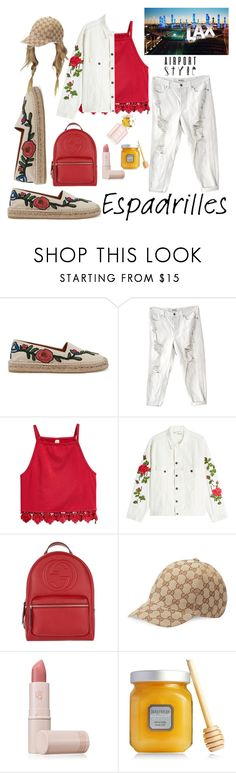 """""""Untitled #39"""" by femitafirman ❤ liked on Polyvore featuring Gucci, Brandy Melville, Off-White, Lipstick Queen, Laura Mercier, Marc Jacobs, red, backpack, gucci and airportstyle"""