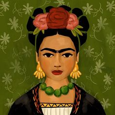 So happy I had time to play and pay tribute to an amazing artist. Kahlo Paintings, Easy Paintings, Portraits, Portrait Art, Fridah Kahlo, Picasso Art, Mexican Artists, Graphics Fairy, Easy Drawings