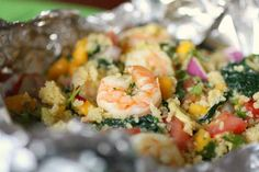 Shrimp and Kale Packets with Mango Salsa