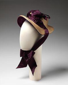 .      Promenade bonnet, straw and silk, 1882, American.