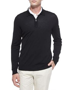 N3GBA Salvatore Ferragamo 1/4-Zip Long-Sleeve Polo Sweater, Black $630
