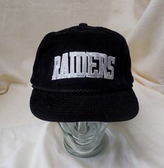 7a7fcfb303a Vintage Raiders Football Slide Fit Corduray Hat Oakland  Las Angles  Black  Rare
