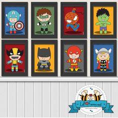 Bundle 5x7 Superhero Digital Art Prints - Printable Art Superhero Poster- Comics Pop art Logo Green Lantern, Superman, Batman, Hulk. $30.00, via Etsy.