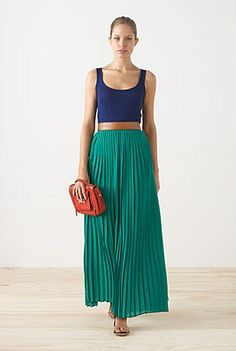 tank, belt and pleated maxi #colorblocked