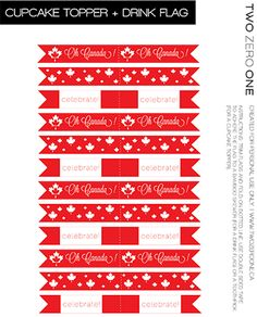 Free Canada Day Printables - cupcake topper, cupcake wrapper, banner, and drink stick Party Printables, Free Printables, Printable Crafts, Canada Day Fireworks, Canada Day Party, Diy Concrete Planters, Canada Holiday, Happy Canada Day, Canada 150