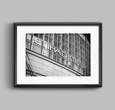Black and white landscape photograph of the Etihad Stadium Manchester City / wall art / art print / MCFC / Photo / home decor / football