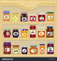 Jars Of Homemade Jam With Labels In The Cupboard Ilustración vectorial en stock 290223473 : Shutterstock