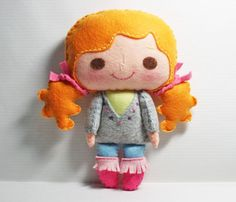 Bella girl - doll pattern, felt doll, PDF