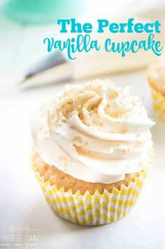 Vanilla Cupcake. An EASY friendly from scratch recipe! Light, fluffy, and loaded with vanilla flavor! Plus tons of tips on how to bake the perfect cupcake!