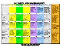 May is Better Speech and Hearing Month - Calendar of SLP R