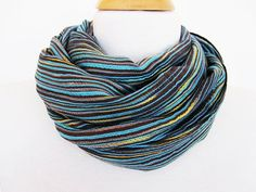 Blue and Colorful Striped Cotton Scarf / by mediterraneanlights, $16.90